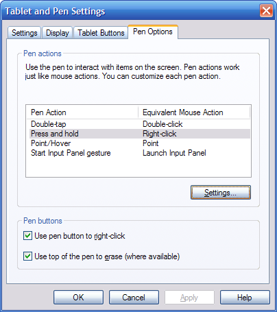 "Select the ""Pen Options"" tab, select the ""Press and Hold"" pen action from the action list, and press the ""Settings"" button."